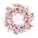 Melrose International Couronne en Polyester Motif Fleurs de Cerisier 53 cm