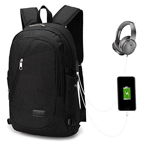Netchain Laptop Rucksack mit USB Ladeanschluss Wasserdicht leichter College Schultasche Reise USB Rucksack für Männer Frauen passt 15.6 Inch Notebook schwarz