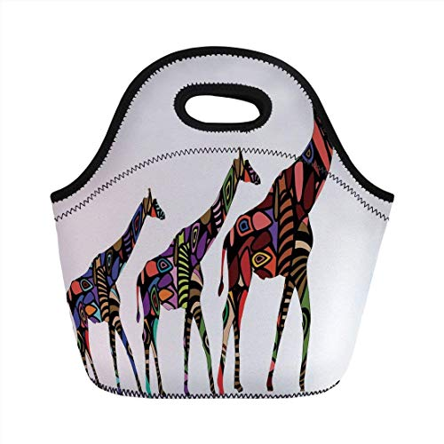 Portable Bento Lunch Bag,Zoo,African Giraffes in Ethnic Style Eastern Environment Retro Cultural Traditional Artwork Decorative,Multicolor,for Kids Adult Thermal Insulated Tote Bags