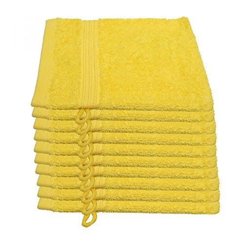 10er Pack Waschlappen Julie Julsen in 29 Farben erhältlich weich und saugstark 500gsm Öko Tex Gelb 15 x 21 cm B-Ware (Kleiner Gelber Teppich)
