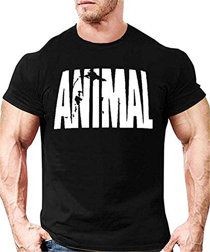 YeeHoo Animal Carta T-Shirt Hombre Camiseta Bodybuilding Básica Deportiva De Manga Corta Fitness Gimnasio (Animal Fitness)