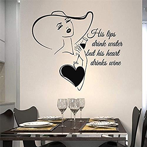 Wandtattoos zitieren seine Lippen trinken Aufkleber Frau Weinglas Wein Vinyl Aufkleber Home Decor...