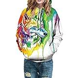 TianWlio Hoodie Pullover Damen Sweatshirt Langarmshirt Bluse Kapuzenpullover Frauen Lässige Herbst Winter 3D Drucken Langarm Caps Sweatshirt Top Bluse