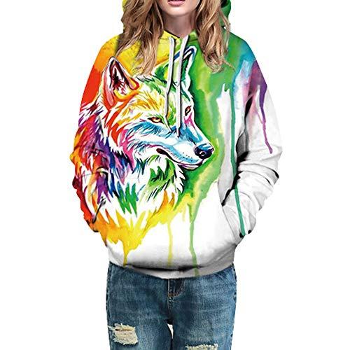 3D-Druck Kapuzenpullover Damen,Elecenty Pullover Frauen Lose Hoodie Pullis Winter Sweatshirts...
