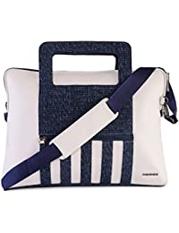 Veuza Yorker Premium Jacquard And Faux Leather White Laptop Bag For Macbook/ Macbook Air