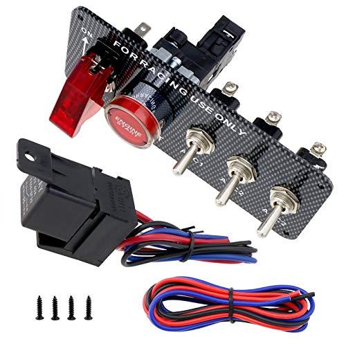 12V 30A Umrüstung von Automobilen 5 in 1 Feuerschalter Kohlefaser Panel Motor Zündung Start Druckknopf Kippschalter für Rennsporteinsatz -