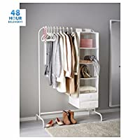 B2C Mulig Clothes Rail 99cm White Display Rack Coat Rail Stand Free Standing Free Storage Compartment