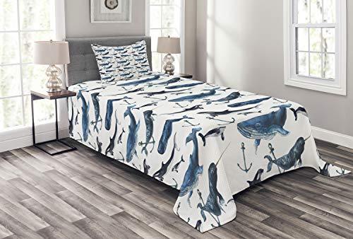 ABAKUHAUS Narwal Tagesdecke Set, Orcas und Blauwale, Set mit Kissenbezügen Sommerdecke, für Einselbetten 170 x 220 cm, Blau grau Dunkelblau Weiß -