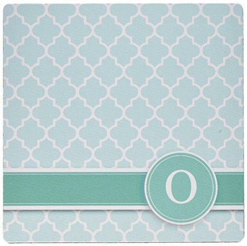 3drose LLC 20,3x 20,3x 0,6cm Mauspad, personalisierbar, Buchstabe O Aqua Blau Vierpass-Muster, Blaugrün Türkis Mint Monogramm Persönlichen Initiale (MP _ 154555_ 1) Maus-pad-aqua Blau