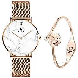 Miniwill Montre analogique à Quartz pour Femme avec Bracelet en marbre et marbre avec Bracelet