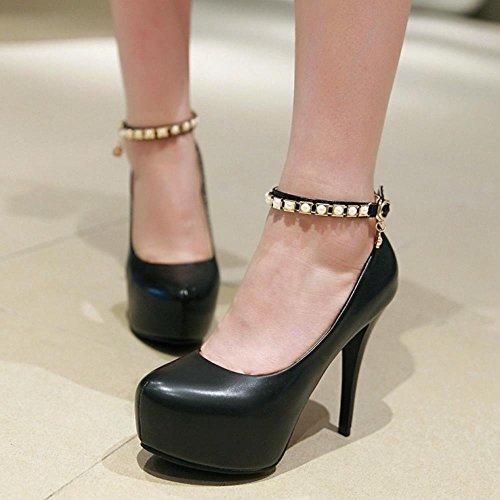 COOLCEPT Damen Stiletto Hohe Heels Sweet Kn?chelriemchen Skirts Pumps Extra Big Sizes Black