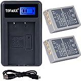 TOP-MAX® 2x BLS-5 Li-ion Batería + USB Cargador para Olympus PS-BLS5, OM-D E-M10, PEN E-PL2, E-PL5, E-PL6, E-PM2, Stylus 1