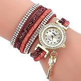 HUIHUI Uhren Damen, Geflochten Armbanduhren Günstige Uhren Wasserdicht Casual Analoge Quarz Uhr Luxus Armband Coole Uhren Lederarmband Mädchen Frau Uhr (Wein)