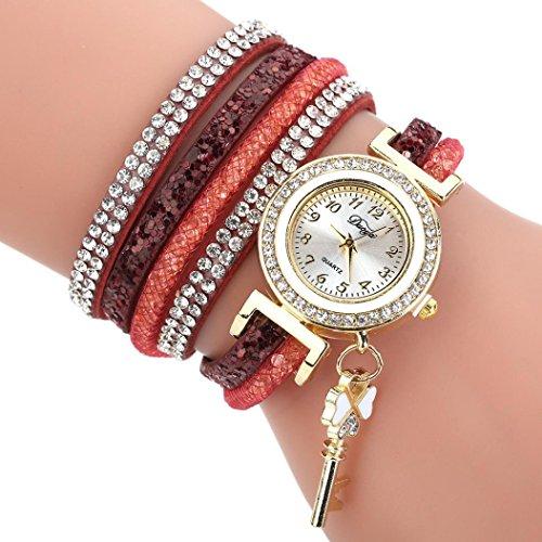 Uhren Damen, HUIHUI Geflochten Armbanduhren Günstige Uhren Wasserdicht Beliebte Casual Analoge Quarz Uhr Luxus Armband Coole Uhren Lederarmband Mädchen Frau Uhr (Wein)