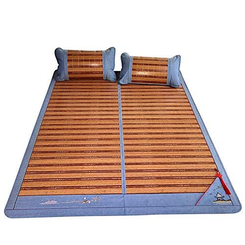 WENZHE Bambus Matratzen Sommer-Schlafmatten Strohmatte Teppiche Doppelseitig Falten Doppelt Natürliche Rebe Zuhause Bettbezüge 1,5/1,8 M (Farbe : A, größe : 180x200cm) - Natürliche Reben-teppich