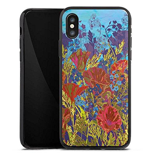 Apple iPhone X Silikon Hülle Case Schutzhülle Rote Blumen Muster Silikon Case schwarz