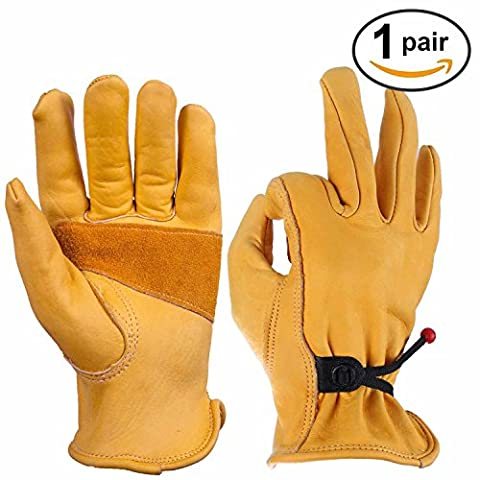 OZERO Work Gloves, Leather Working Glove with Ball and Tape Wrist Closure - Flex & Good Grip for Logging/Wood Cutting/Forest Work/Gardening - Perfect Fit for Men & Women - 1 pair Pack