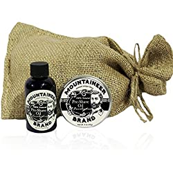 Pre-Shave Oil & Post -Shave Balm Combo by Mountaineer Brand: Eucalyptus Scent--Soften before and Soothe after shaving (Eucaluptus)