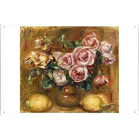 metallo manifesto piatto decorazione della parete Targa in metallo di Pierre Auguste Renoir - Still life with Roses and Lemons 20*30cm by Masterpiece