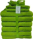 Buymax - 10 teiliges Handtuch-Set, 2 Badetücher 2 Gästetücher 2 Waschhandschuhe 2 Duschtücher 2 Badvorleger, Apfelgrün