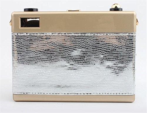Good Night Elegante stile cuoio della macchina fotografica Piazza della frizione di sera della borsa a tracolla borsa Argento
