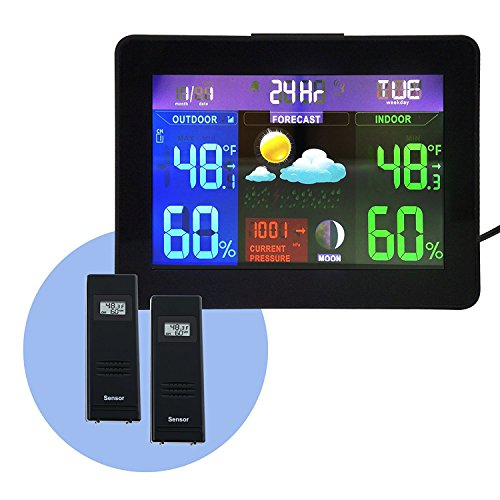 2 Digitaler Wireless Sensor Farbe LED Funk Wetterstation Uhr Innen / Ausensensor 24 Std - Wettervorhersage Station Monitor Thermometer Luftfeuchtigkeit Barometrischer Druck RH% Temperatur Monitor RCC DCF mit Alarm- und Schlummerfunktion (Wettervorhersage-uhr)
