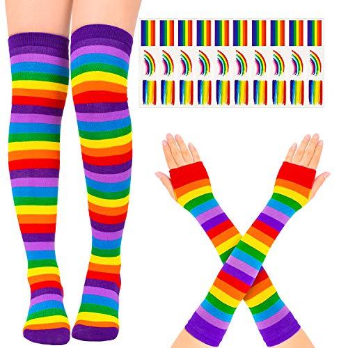 Whaline Regenbogenkniestrümpfe, dick, gestreift, mit 30 Stück Gay Pride Tattoos für Frauen Mädchen Cosplay Party Zubehör Parade Dekoration
