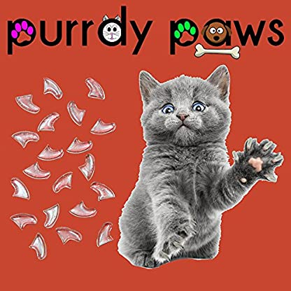 Purrdy Paws 100-Pack Soft Nail Caps For Cat Claws CLEAR * LARGE Brand 1