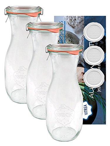12 Saftflaschen Flaschen 290 ml 1/4 + 4 Frischhalte Deckel Weck Gläser Einmachgläser Sturzgläser Weckgläser / inkl Einkochringe Klammern Glasdeckel
