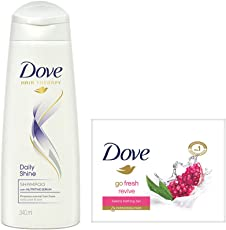 Dove Daily Shine Shampoo, 340ml with Go Fresh Revive Beauty Bar, 100g (Pack of 3)