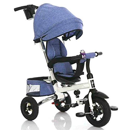 Leichter Baby-Kinderwagen One Bond Klappsitz drehbar Kinder-Dreirad, abnehmbare höhenverstellbare Kinderpedal-Trike Fahrrad, 8 Monate - 5 Jahre alt Baby-Trolley mit Sonnenschutz Kinderwagen blau