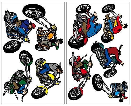 Samunshi® 9-teiliges Chopper Motorrad Wandtattoo Set Cruiser Moped in 5 Größen (2x16x26cm Mehrfarbig) (Cool Cruiser-bikes)