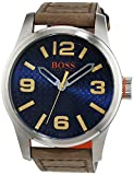 Hugo Boss Orange Paris Herren-Armbanduhr Quartz mit braunem Leder Armband 1513352