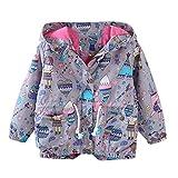 RWINDG Kinder Kind Jungen Mädchen Frühling Herbst Cartoon Print Trench Jacke Outwear Mantel Kleidung Set 2 Stück Tops+ Rock Tütü Pettiskirt Geburtstag Geschenk Outfits