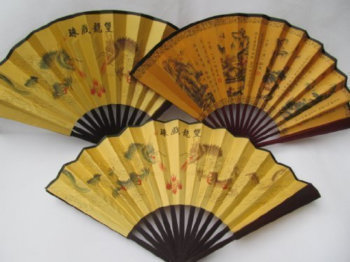 Hochwertiges Holz &Silk Klassische vintage Chinese braun, Länge 26 cm, chinesische Japanische Geisha Kostüme Verkleidungen Damen fan von London-Catz ()