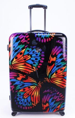 ... 20 Euro Rabatt ... PREMIUM DESIGNER Hartschalen Kofferset 2 tlg. - Heys Novus Art Brush Strokes - Handgepäck + Trolley mit 4 Rollen Gross Butterfly Ink