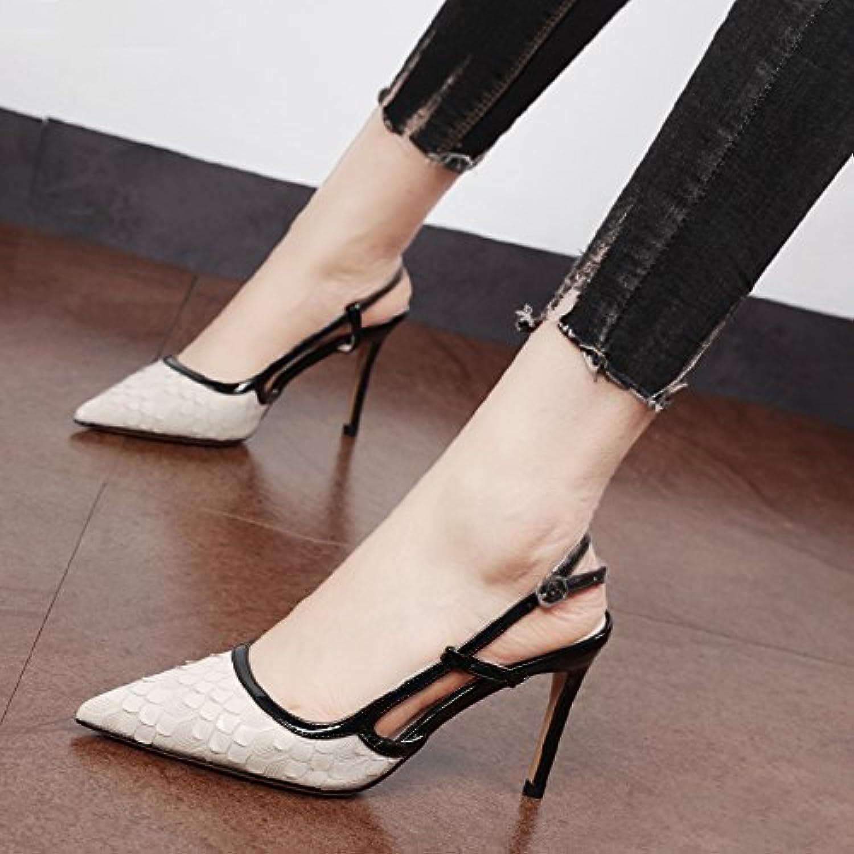 VIVIOO Scarpe col tacco alto Sandali con tacco alto Baotou Sandali stiletto Scarpe estive Pinpoint Buckle Nero... | Nuovo mercato  | Uomini/Donna Scarpa
