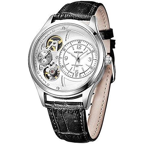 downj Fashion Casual da uomo al quarzo orologi Seconda mano corsa cinturino in pelle, colore: nero - Seiko Moon Watch