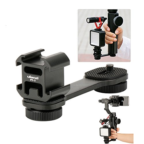 ulanzi PT 3 3 in 1 Triple Hot Shoe Mount Adapter Converter by MM1 Microphone supporto staffa LED Video Light Holder for Zhiyun Smooth 4/SMOOTH Q For DJI Osmo Mobile 2