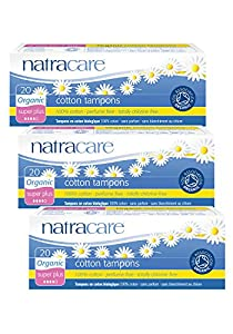 PACK OF 3 Natracare Organic Cotton Tampons Super Plus (non-applicator)
