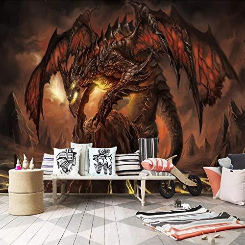 Tapeten BenutzerdefinierteWow Feurigen Drachen Hintergrund Wandmalerei 3D Wallpaper WandbilderWohnzimmer Dekor 400x280cm