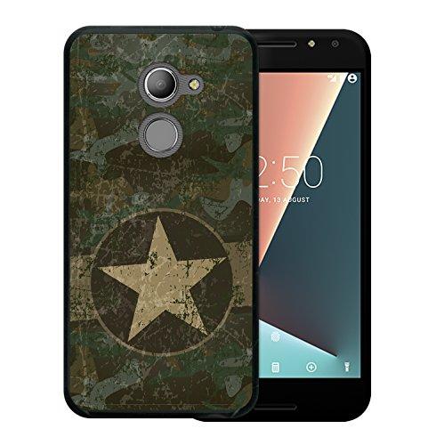 WoowCase Vodafone Smart N8 Hülle, Handyhülle Silikon für [ Vodafone Smart N8 ] Militärischer Stern Handytasche Handy Cover Case Schutzhülle Flexible TPU - Schwarz