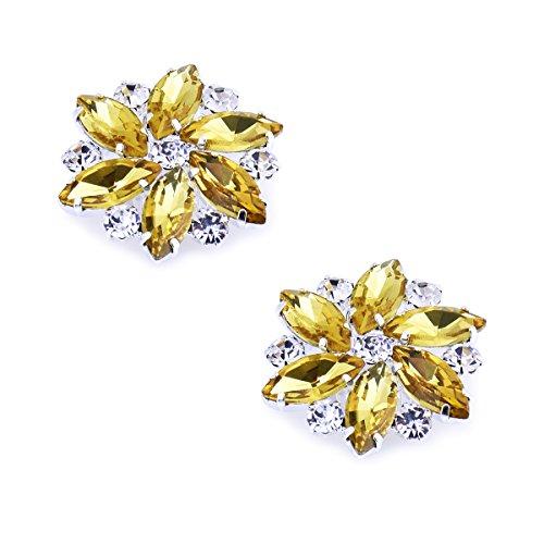 Elegantpark AJ Damen Passenden Fashion Tanzschuh Party Schuhe Clutch Tasche Hat Kleider Strass Gold Schuh clips 2 Stück
