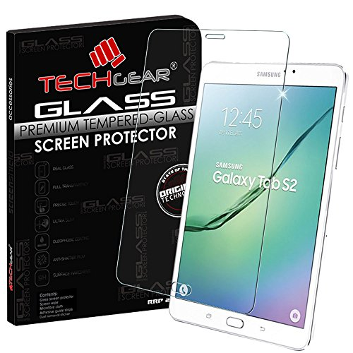 TECHGEAR® Samsung Galaxy Tab S2 8.0 Inch with LTE/4G (SM T715) GLASS Edition Genuine Tempered Glass Screen Protector Guard Cover, [Importado de UK]