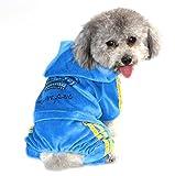 Pijama de terciopelo con corona de ZUNEA para perros pequeños