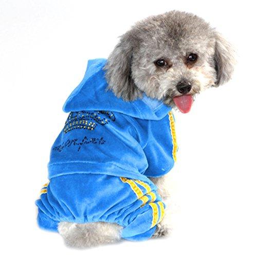 zunea Krone Kleine Hunde Samt Jumpsuit Schlafanzüge Weiche Pet Puppy Hoodie Trainingsanzug Mantel Kleidung Apparel