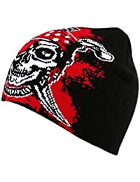 Bonnet Biker avec pirate Noir et Rouge - Mixte