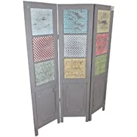 Casa-Padrino Country Style Room Divider Gray/Multicolored 135 x 3 x H. 175 cm - Country Style Furniture - Comparador de precios