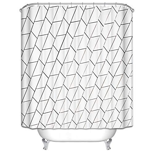 Aienid Bad Vorhang Antischimmel Geometrie Schwarz Weiss Wasserdicht Duschvorhang Size:150X200CM