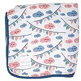 Emma & Noah copertina per bebè, extra soffice e morbida, 100% cotone, dimensione 120 x 120 cm, a 4 strati, come coperta neonato, coperta da coccolare, coperta per culla, lettino, passeggino (Nuvola)